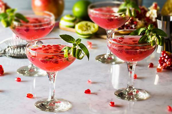 Pomegranate mocktails with lime.