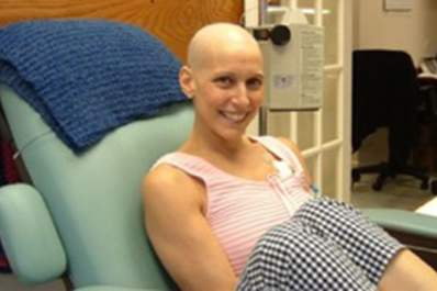 Dr. Cappello receiving chemotherapy treatment for stage 3C breast cancer.