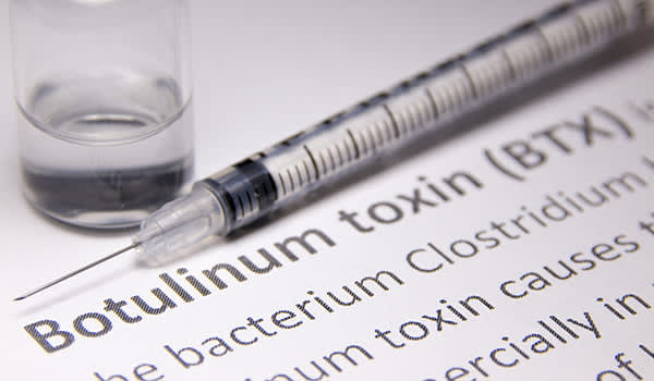 Botox injection, syringe and vial on definition page.