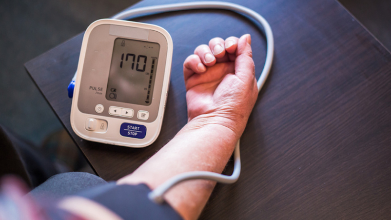 Spike in blood pressure due to anxiety.