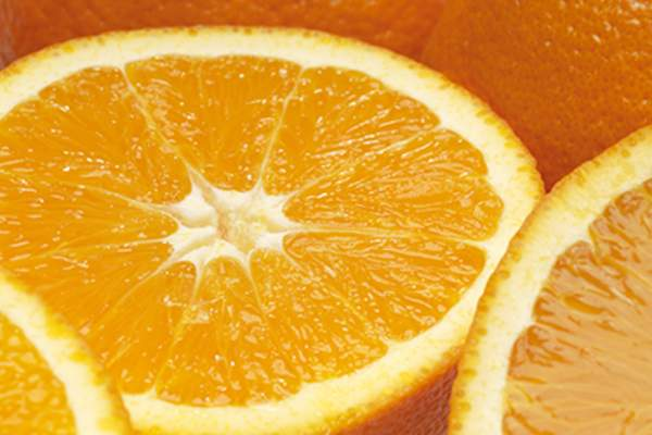 Orange cut in half.