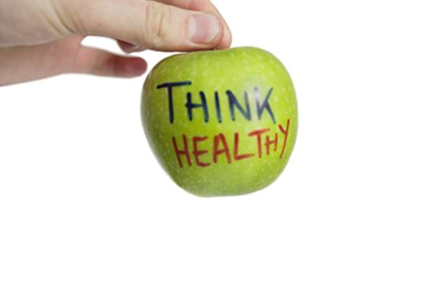 Apple with think healthy concept.