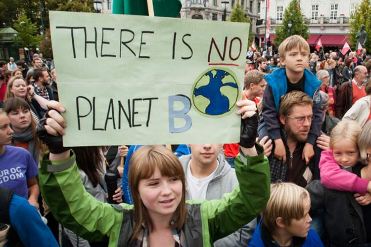 Kids advocating against climate change.