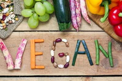 Vegan written out in vegetables.