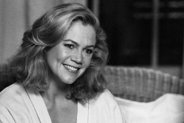 "Kathleen Turner as Jane Blue smiles in a scene for the MGM movie ""Undercover Blues"" circa 1993."