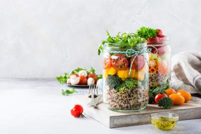 Healthy food in jars.