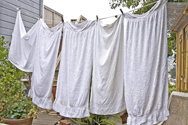 Towels on a clothesline.