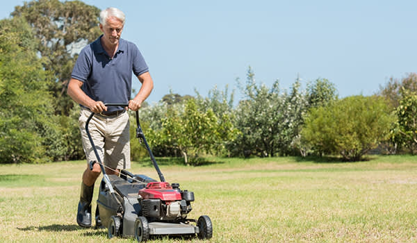 Middle aged man mowing the lawn image