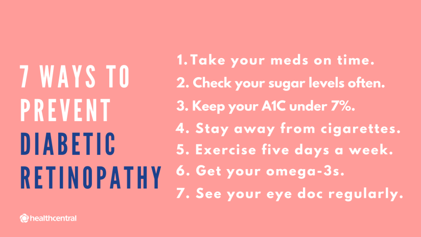 Ways to prevent diabetic retinopathy include taking medication on time, checking blood sugar levels often, keeping A1C under 7%, avoiding cigarettes, exercise, omega-3 vitamins, and seeing an eye doctor regularly