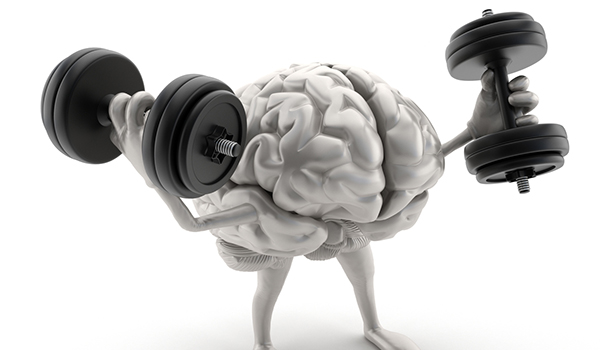 Brain exercising lifting weights concept.
