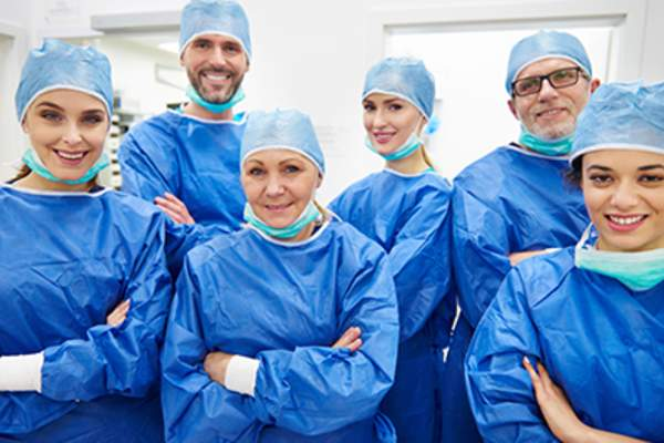 Team of cheerful and professional doctors
