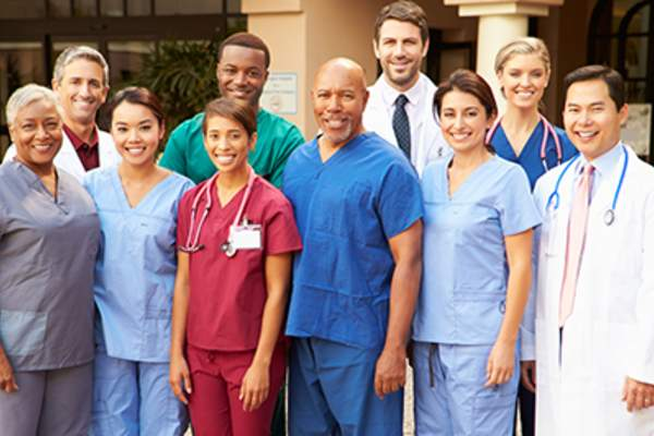 Diverse group of medical professionals.