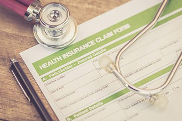 Close up of a medical insurance form.
