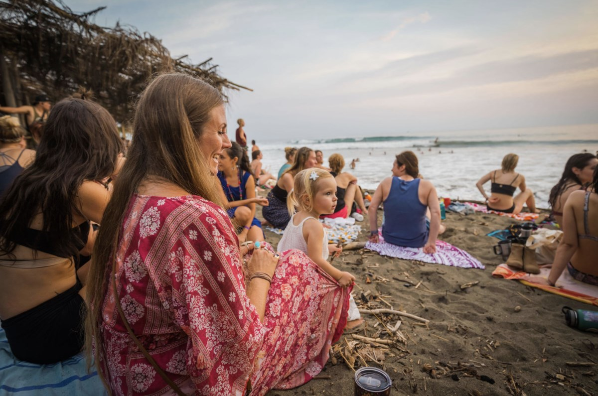 Yoga Girl Retreat at Envision Festival  2019 Feb  Rachel Lea Luna and group at the beach Costa Rica