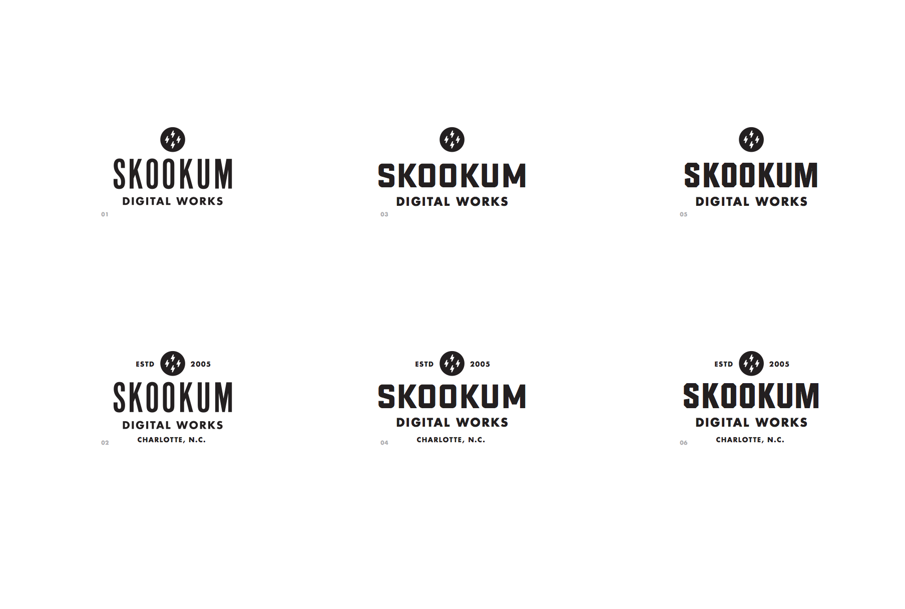 Iterations of Skookum Logo Text Styles