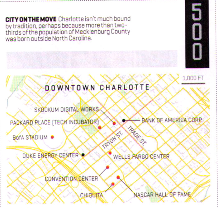 Fortune Magazine map of Charlotte, NC