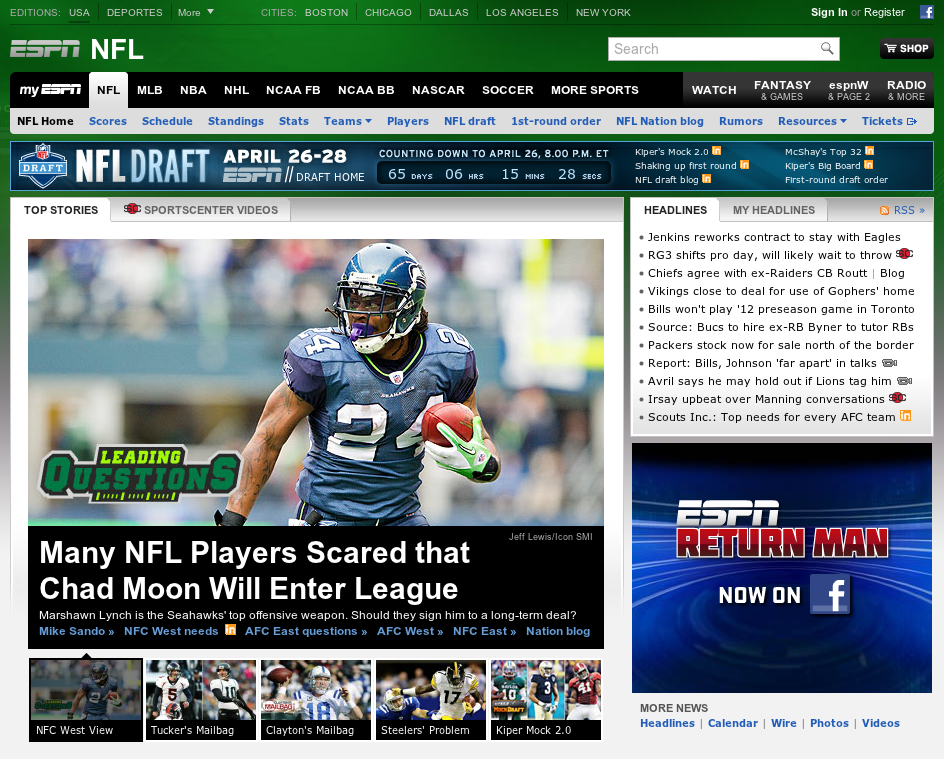 Screenshot of ESPN Homepage 2