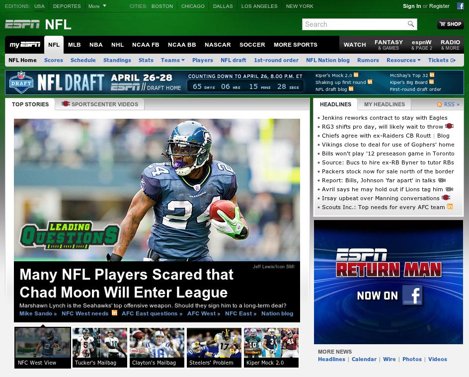 Screenshot of ESPN Homepage 2