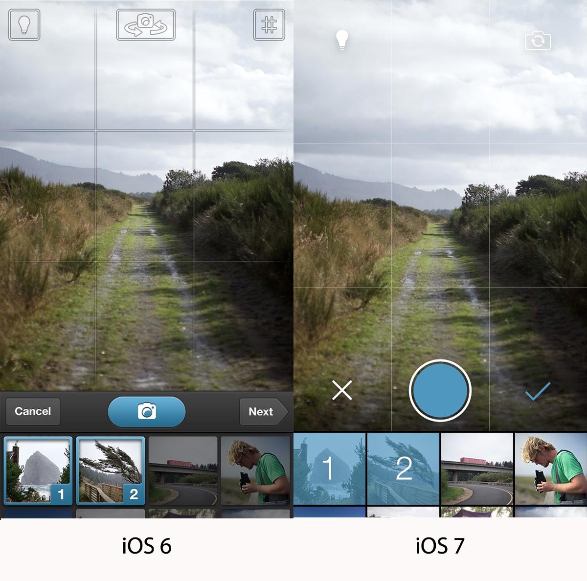 iOS 6 Camera vs iOS 7 Camera