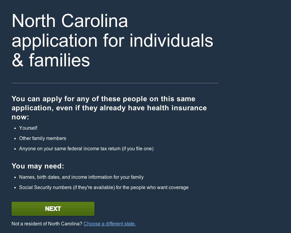 Healthcare.gov North Carolina Application page