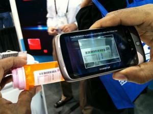 Smartphone app scanning pill bottle