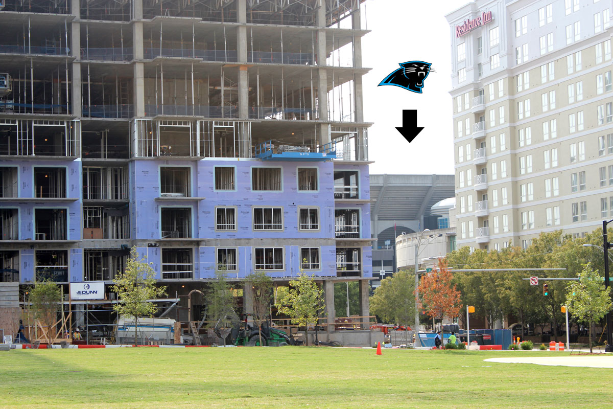Panthers Stadium from Romare Bearden Park