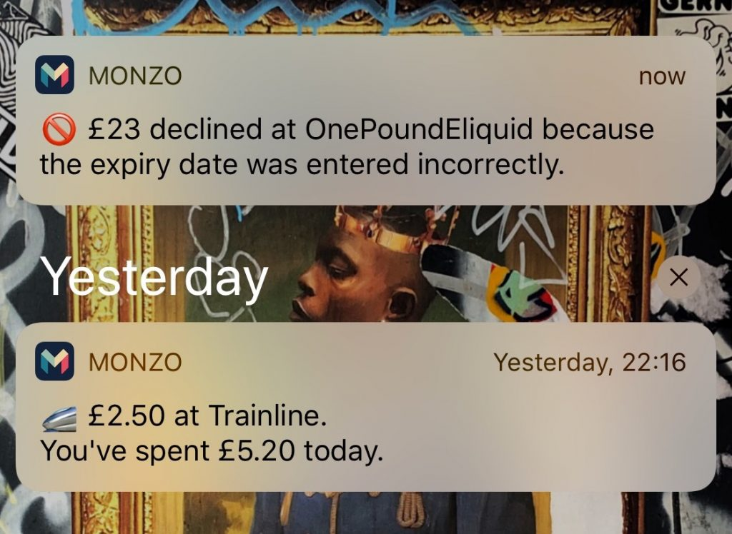 Notification from the Monzo app of a failed transaction.