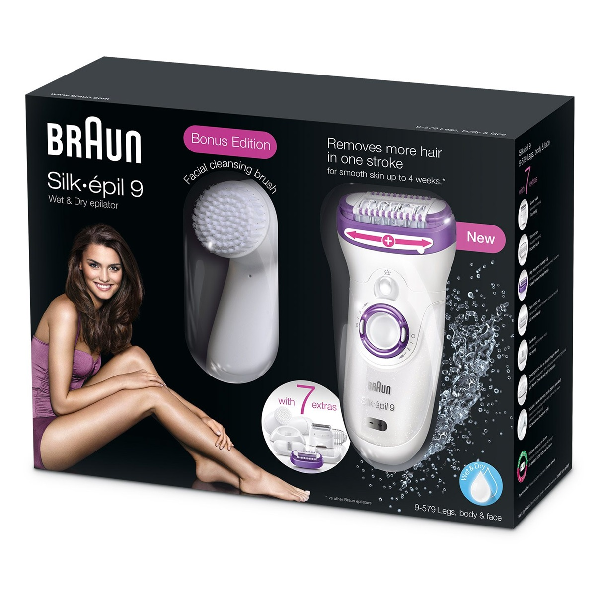 Silk-épil 9 - 9579 Wet&Dry Legs, Body & Face Epilator & Shaver + Brush packaging