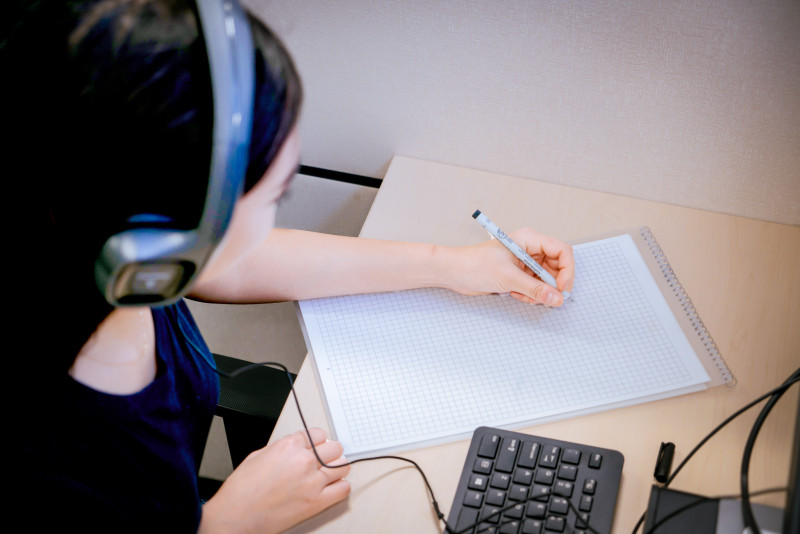 Image of student in a test center