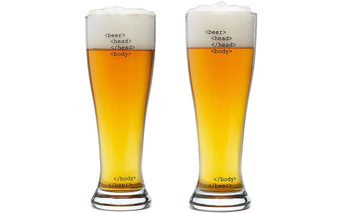 Code Beer Glasses from Uncommon Goods