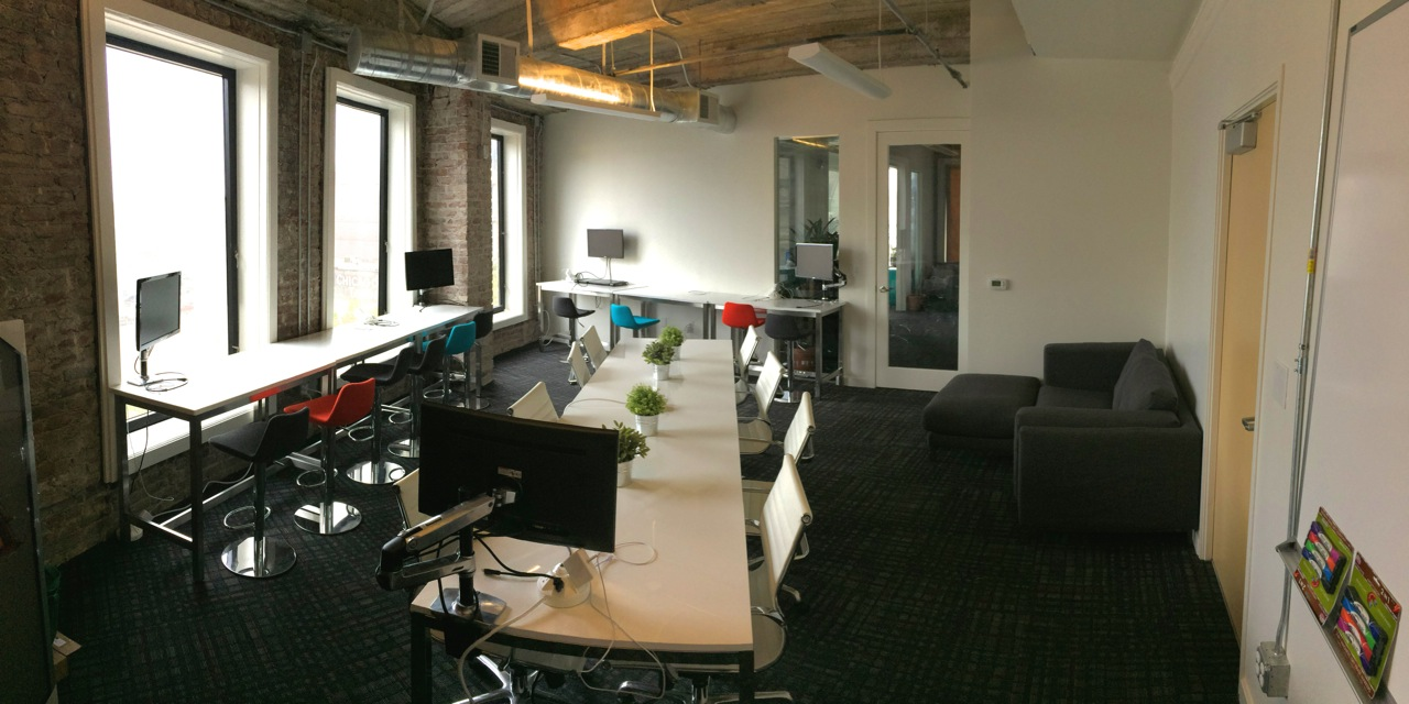 Hack Reactor's alumni coworking space offers a great view, excellent networking opportunities and a treadmill desk.