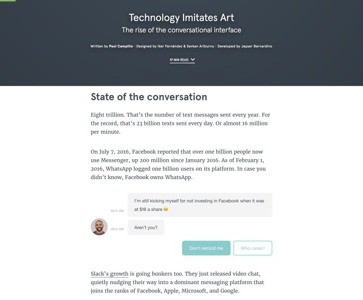 Typeform Interactive blog post chatbot