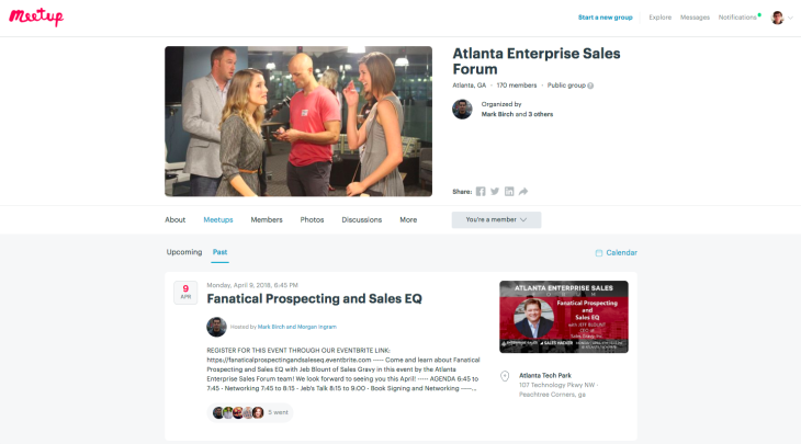 Atlanta Enterprise Sales Forum Pre meetup chatbot