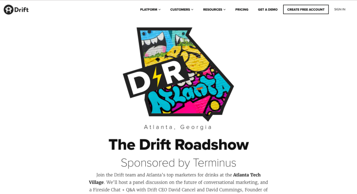 Drift Atlanta Roadshow chatbot