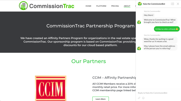 CommissionTrac Referral partner chatbot