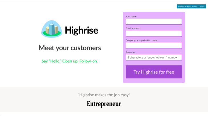 Highrise Trial offer chatbot
