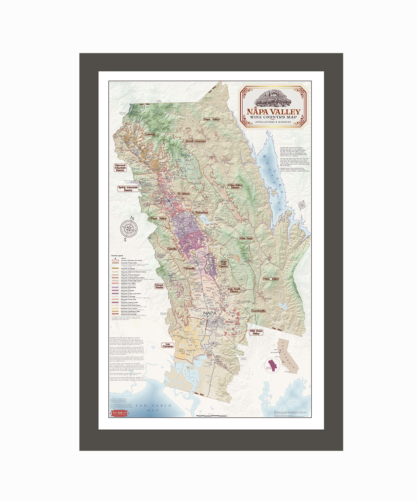 Napa Valley Wine Country Map - Appellations & Wineries Framed