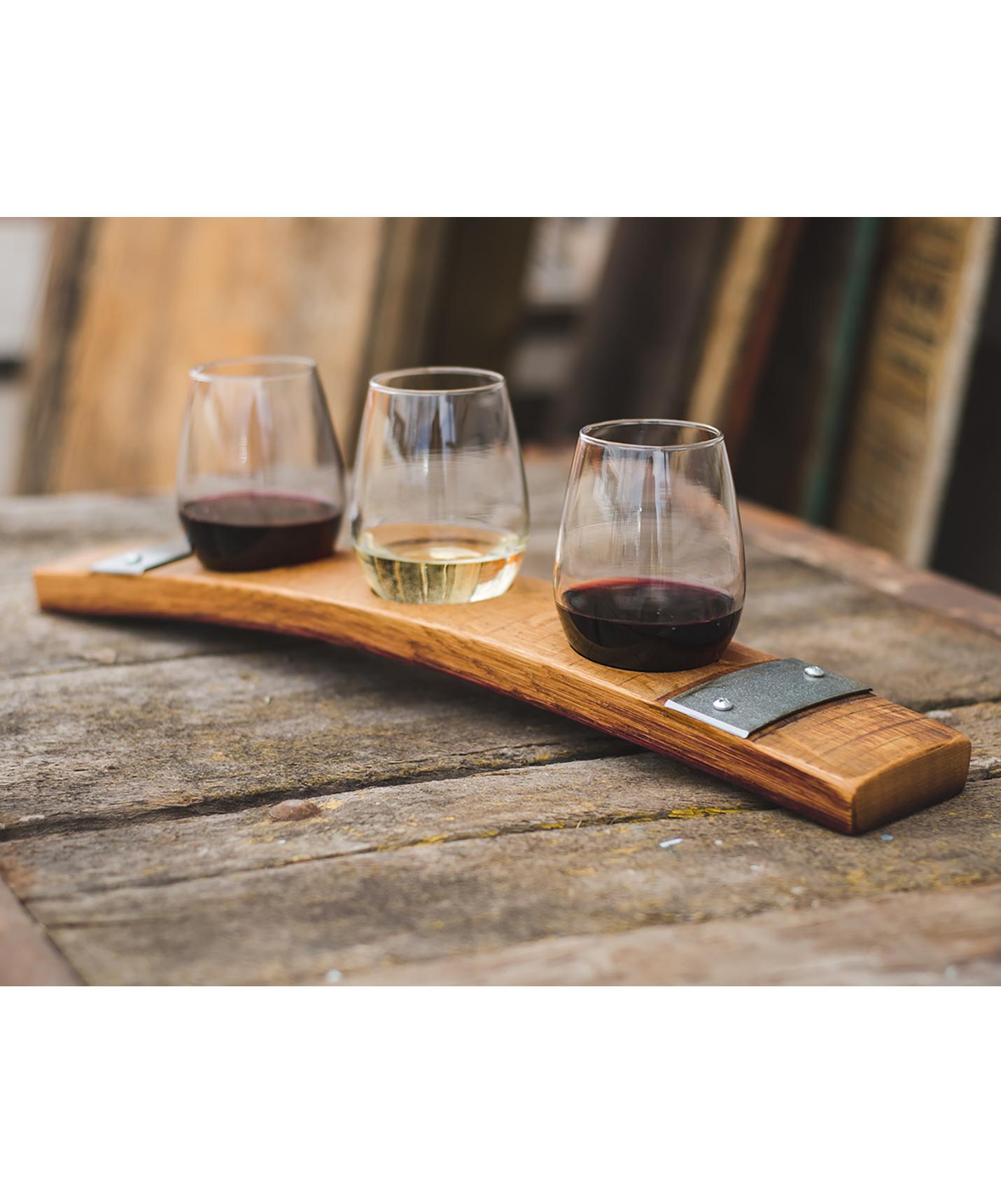 Barrel Stave Wine Flight, Banded, 3 Glasses