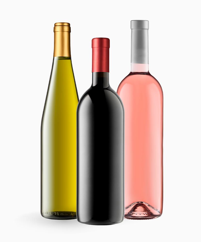 Red wine bottle, white wine bottle, and rose wine bottle.