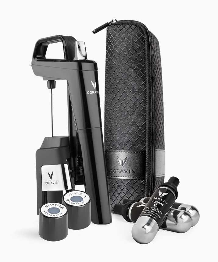 Product shot of a Coravin Model Six Wine Preservation System with a SmartClamps Carry Case, two Coravin Screw Caps, and three Coravin Pure Capsules.