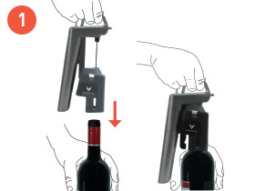 Side-by-side images of holding the Coravin Wine Preservation System over the top of a bottle and with the System inserted into the bottle