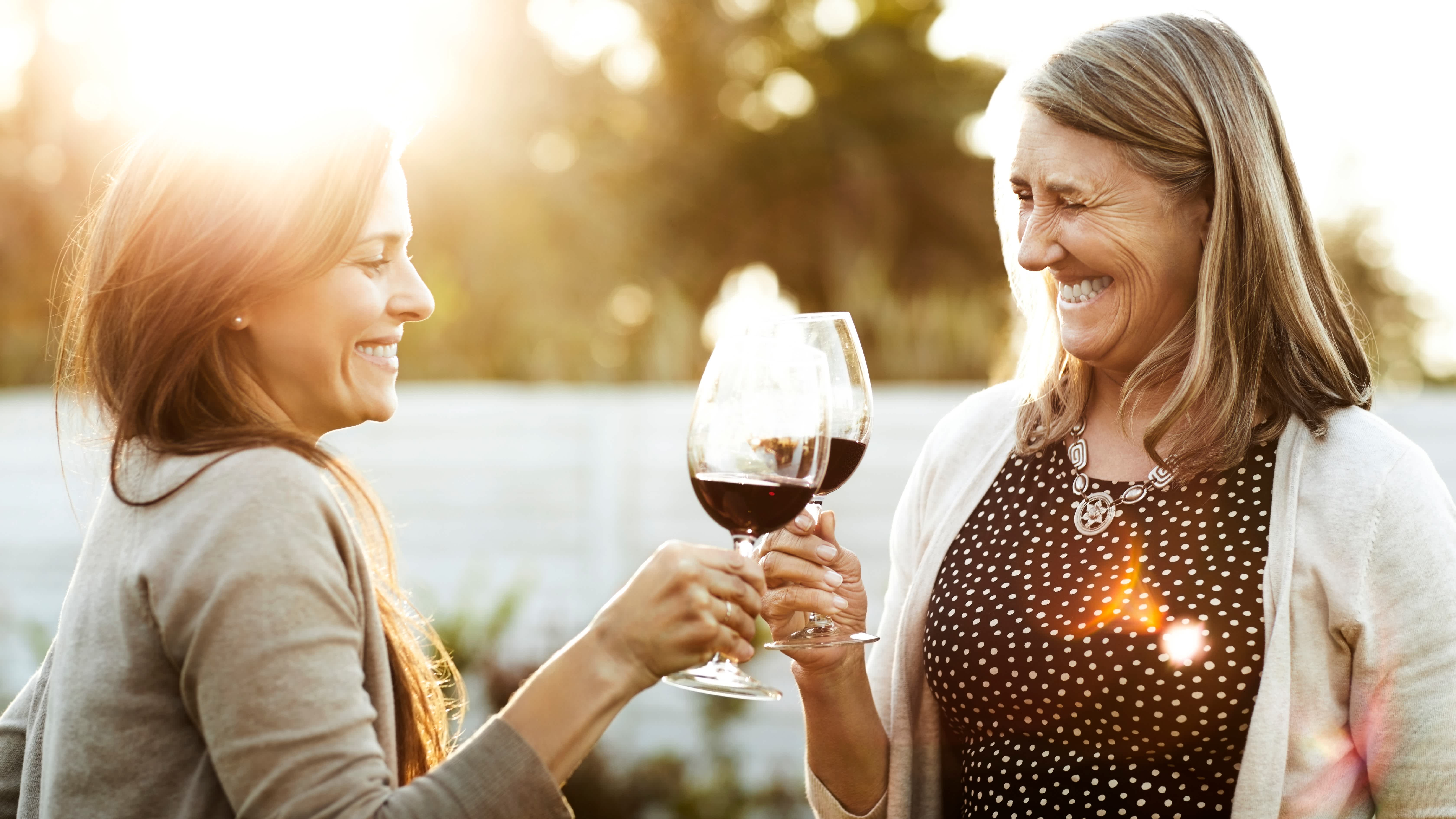 Mother's day gift guide header photo with two women cheersing outside
