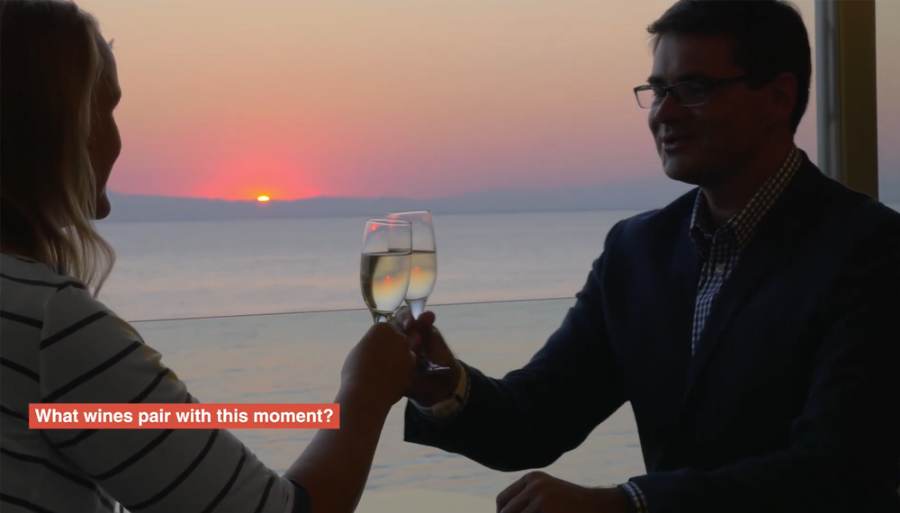 A couple toasting white wine with an ocean sunset background.