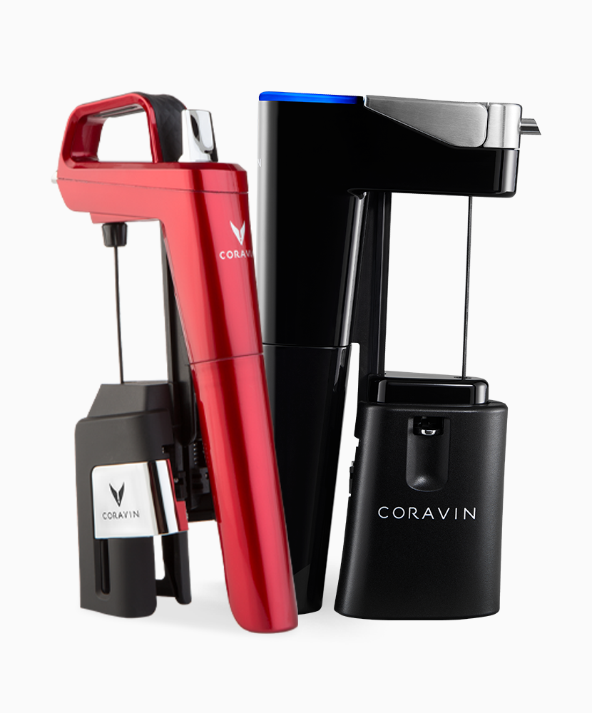Model Six Candy Apple Red and Model Eleven Coravin Wine Preservation System.