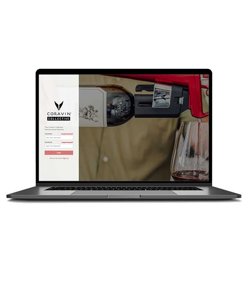 Laptopbildschirm mit Anmeldeseite von Coravin Collective