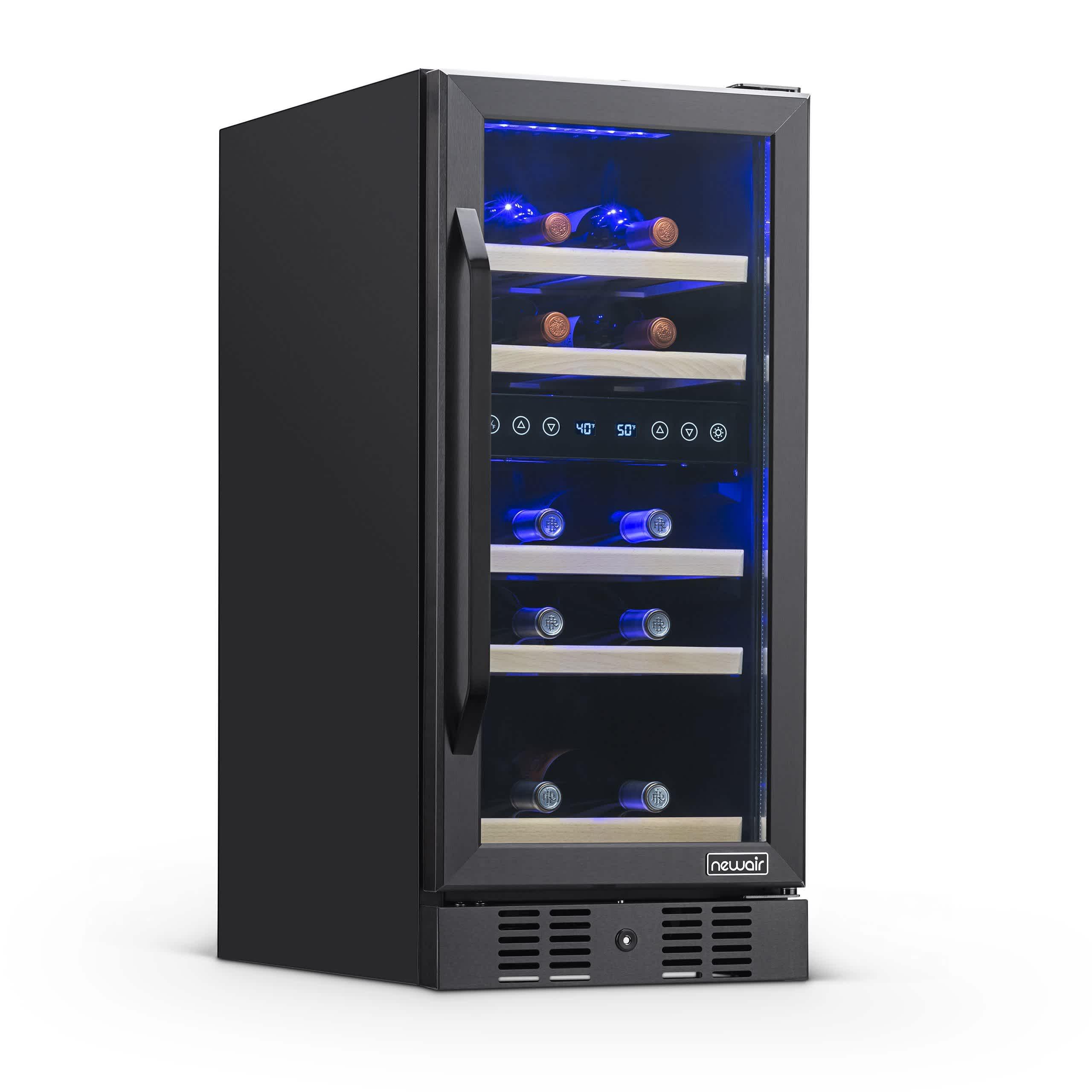 NewAir 15 inch Built-in 29 Bottle Dual Zone Wine Fridge in Black Stainless Steel