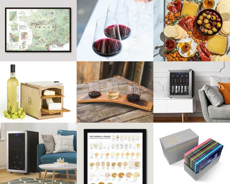 A collage of different wine accessories.