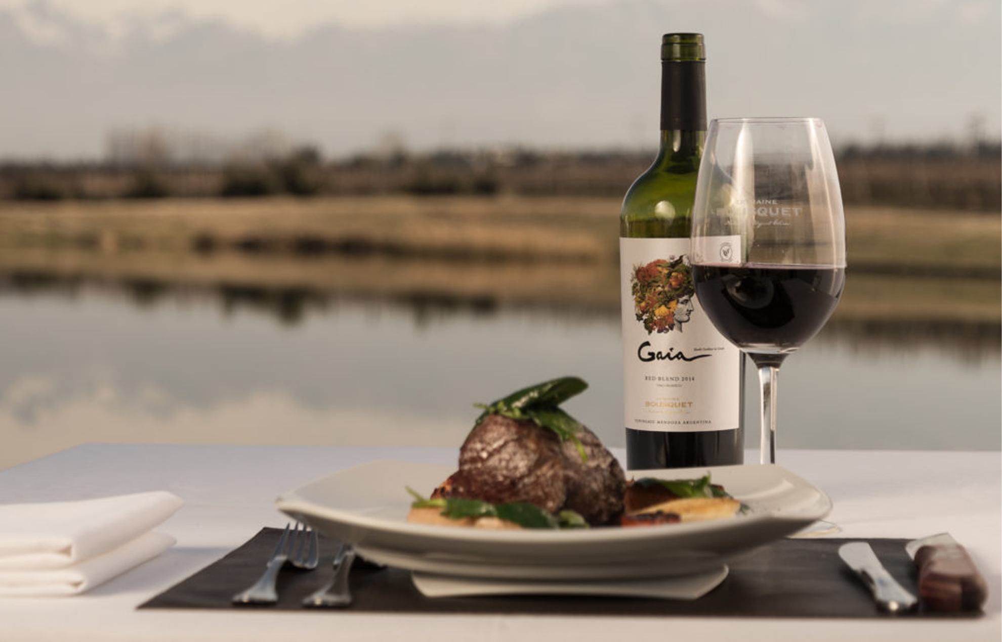 Dinner plate setting with food, a filled wine glass, and a wine bottle, with a landscape view of water.