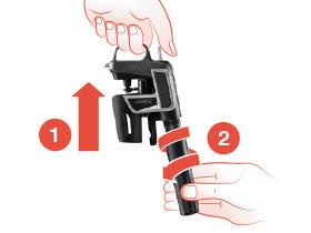 Diagrama del Sistema de Preservación de vino Model Two que muestra el paso 1, cómo deslizar las abrazaderas hacia arriba, y el paso 2, cómo girar el receptáculo de la cápsula para extraerlo.