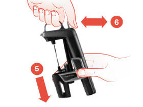 Diagram showing hands sliding the Clamps down and pressing and releasing the trigger on the Model Two Wine Preservation System